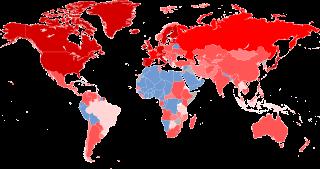 En rojo los países que fueron afectados por la crisis financiera de 2008.